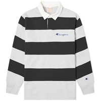 Champion Reverse Weave Striped Rugby Shirt Grey