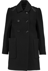 Maje Leather Trimmed Wool Blend Coat Midnight Blue