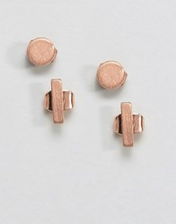 Pieces Maddy Rose Gold Plated Minimal Stud Earrings Rose Gold
