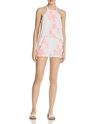 Aqua Embroidered Layered Romper 100 Exclusive Neon Pink White
