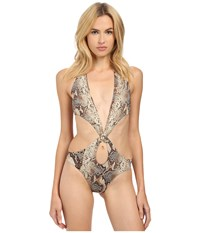 Roberto Cavalli Python One Piece Naturale Women's Swimsuits One Piece Multi