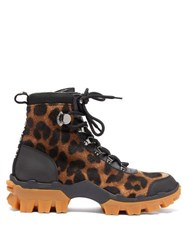 Moncler Helis Leopard Print Calf Hair Hiking Boots Leopard