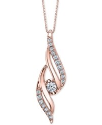 Sirena Diamond Twist 18 Pendant Necklace 1 4 Ct. T.W. Rose Gold