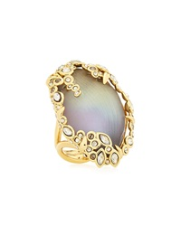 Alexis Bittar Lucite Rhinestone Edge Cocktail Ring Golden