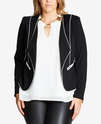 City Chic Trendy Plus Size Piped Open Front Blazer Black