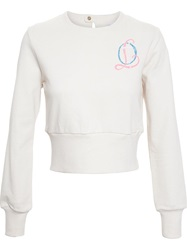 Olympia Le Tan Cropped Sweatshirt With Logo White