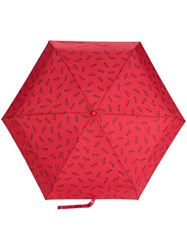 Moschino Logo Printed Umbrella Red