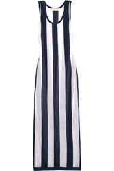 Diane Von Furstenberg Striped Stretch Knit Dress Storm Blue