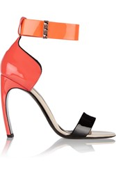 Nicholas Kirkwood Color Block Patent Leather Sandals Orange