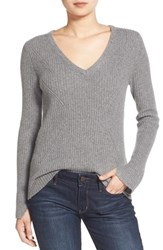 Women's Velvet By Graham And Spencer Ribbed Cashmere V Neck Sweater Heather Grey