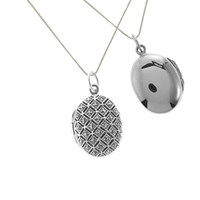 Nina B Marcasite Oval Locket Pendant Necklace Silver