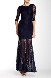 L'atiste 3 4 Length Sleeve Lace Maxi Dress Blue