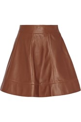 Michael Kors Plonge Leather Mini Skirt Brown