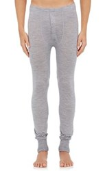 Hanro Men's Tissue Weight Wool Silk Long Johns Grey