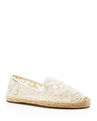 Soludos Lace Smoking Slipper Espadrille Flats Ivory