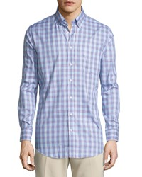 Bobby Jones Long Sleeve Plaid Cotton Shirt Light Blue