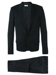 Saint Laurent Slim Cut Tuxedo Men Silk Virgin Wool 46 Black