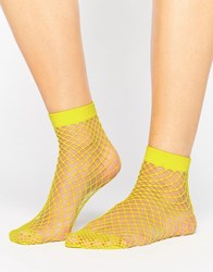 Asos Oversized Fishnet Ankle Socks Yellow