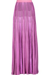 Missoni Metallic Pleated Crochet Knit Maxi Skirt Pink