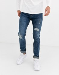 Celio Skinny Jeans In Mid Wash With Distressing Blue