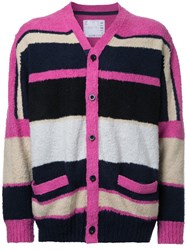 Sacai Colour Block Cardigan Pink Purple