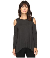 Vince Camuto Long Sleeve Cold Shoulder Top Dark Heather Grey Women's Clothing Gray