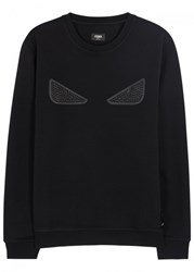 Fendi Studded Leather Appliqued Wool Blend Sweatshirt Black