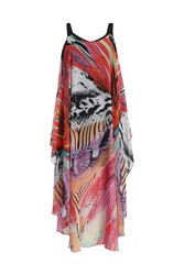 Samya Tribal Draped Maxi Dress Red