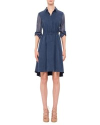Akris Punto Mesh Inset Drawstring Waist Shirtdress Denim