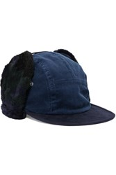 Sacai Faux Shearling Trimmed Corduroy Hat Navy