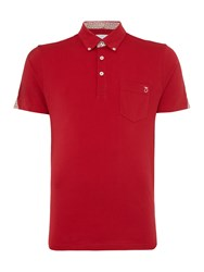 Peter Werth Men's Eastbourne Jersey Polo With Floral Trim Red
