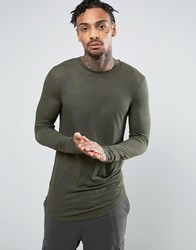 Asos Viscose Rib Super Longline Muscle Long Sleeve T Shirt With Curve Hem Green