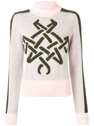 Mr And Mrs Italy Embroidered Roll Neck Jumper Pink