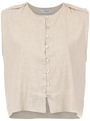 Olympiah Turin Linen Tank Top Nude And Neutrals