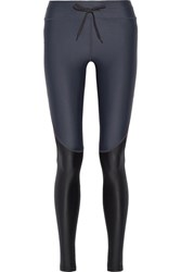 The Upside Racing Color Block Stretch Leggings Midnight Blue