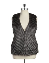 Bb Dakota Plus Faux Fur Vest Grey Multi
