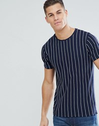 Bellfield T Shirt With Embroidered Stripe Navy