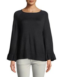 Chelsea And Theodore Ruffle Sleeve Pullover Sweater Black