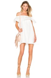 Line And Dot Concorde Ruffle Dress White