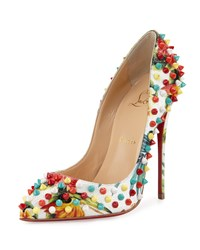 Christian Louboutin Follies Spiked Floral 120Mm Red Sole Pump White Multi White Multi