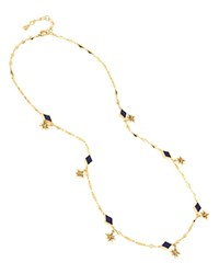 Charm And Chain Shiny Station Necklace 30 Blue Gold