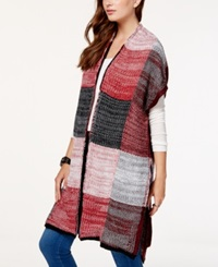 Material Girl Juniors' Short Sleeve Colorblock Cardigan Sweater Only At Macy's Zinfandel