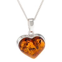 Be Jewelled Baltic Amber Heart Pendant Necklace Silver Cognac