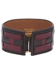 Hermes Vintage Leather Logo Cuff Brown