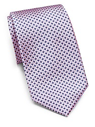 Saks Fifth Avenue Black Silk Dot Tie Light Pink