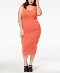 Planet Gold Trendy Plus Size Scoop Neck Body Con Dress Burnt Sienna