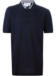 Salvatore Ferragamo Zig Zag Trim Polo Shirt Blue