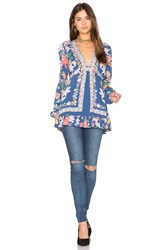 Free People Violet Hill Printed Tunic Top Blue