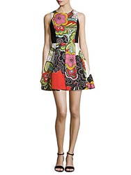 Alice Olivia Annalyn Printed Fit And Flare Dress Retro Floral