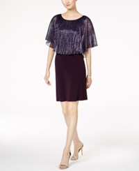 Connected Petite Metallic Cape Dress Grape